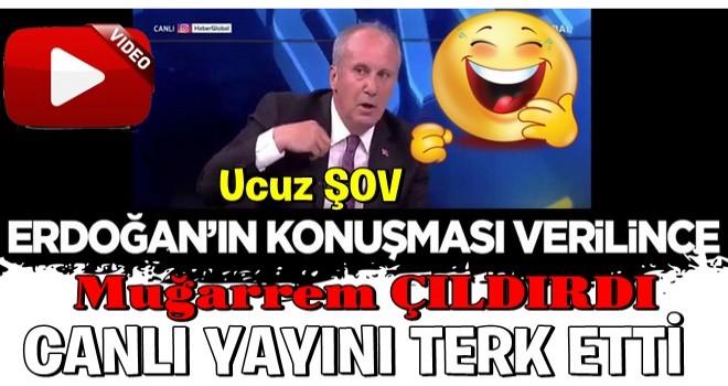Erdoğan'ın konuşması verilince çıldıran Muharrem İnce gündeme gelmek için şov yaptı