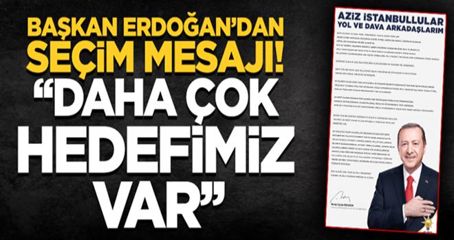 Başkan Erdoğan'dan seçim mesajı: Daha çok hedefimiz var