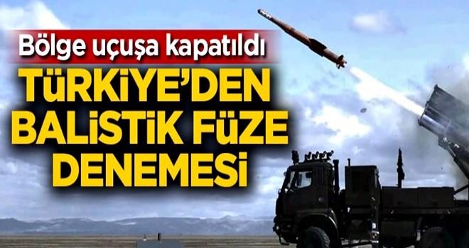 Bölge uçuşa kapatıldı! Türkiye'den balistik füze denemesi