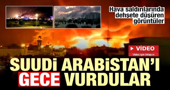 Suudi Arabistan gece peş peşe hava saldırıları! Korkunç görüntüler