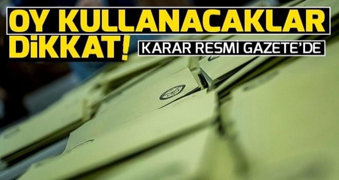 31 Mart seçim kararları Resmi Gazete'de .