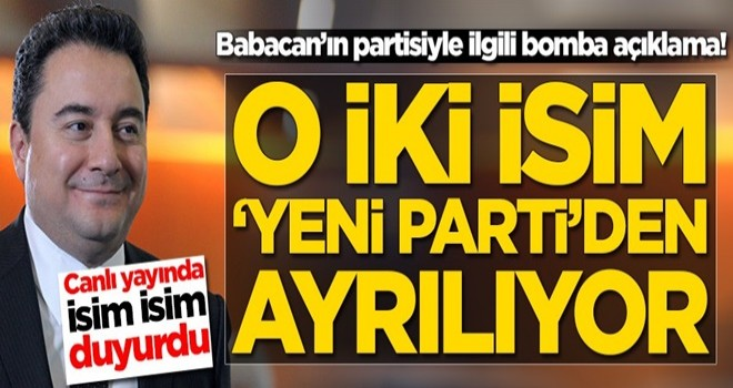 Babacan'ın partisinde deprem! İki isim yeni partiden ayrılıyor