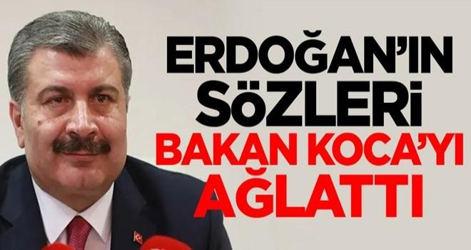 Cumhurbaşkanı Erdoğan'ın sözleri sonrası Sağlık Bakanı Fahrettin Koca gözyaşlarını tutamadı