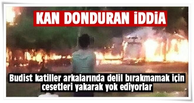 Arakan'da cesetleri yakarak yok ediyorlar.