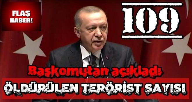 Başkomutan Erdoğan harekatta öldürülen terörist sayısını açıkladı!