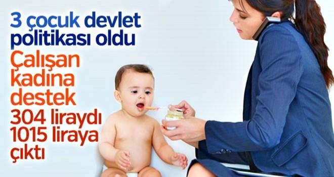 Kreş desteği çocuk başına 1015 lira