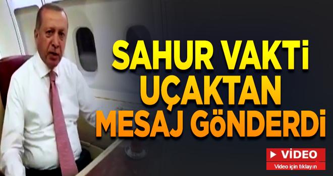 Erdoğan'dan yurda dönüş yolunda Ramazan mesajı