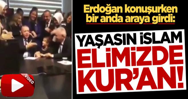 Başkan Erdoğan konuşurken araya giren küçük kız salonda kahkaha tufanı kopardı