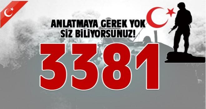 '3 Bin 381 terörist etkisiz hale getirilmiştir'