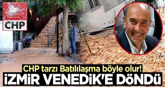 İzmir'in Konak ilçesinde cadde ve sokaklar göle döndü