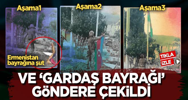 İşgalden kurtarılan Madagiz'de Azerbaycan bayrağı göndere çekildi