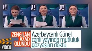 Azerbaycanlı spiker, memleketi Zengilan'ın kurtuluş haberini ağlayarak verdi