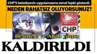 CHP'li belediyeden tepki çeken uygulama! BESMELE ve ALLAH yazısı kaldırıldı .
