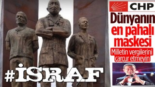 CHP'nin maskeli heykeli tepki topladı