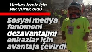 Sosyal medya fenomeni Rıdvan Çelik, 98 santimetrelik boyuyla İzmir'de arama kurtarma çalışmalarına katılıyor