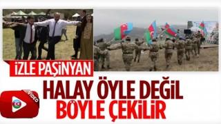 Azerbaycan askerlerinden Paşinyan'a halaylı gönderme