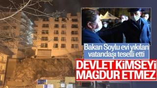 İçişleri Bakanı Soylu, mağduruz diyen Açelya apartmanı sakinini teselli etti