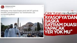 Ayasofya Camii'nde kılınan bayram namazı Yunan basınında
