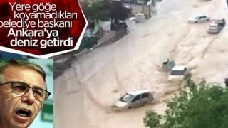 Ankara'da caddeleri sel bastı