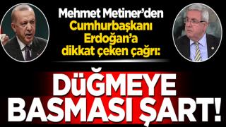 Mehmet Metiner'den Cumhurbaşkanı Erdoğan'a dikkat çeken çağrı: Düğmeye basması şart!