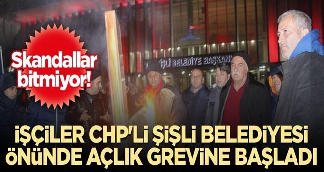 CHP'li Şişli Belediyesi önünde işçiler açlık grevine başladı